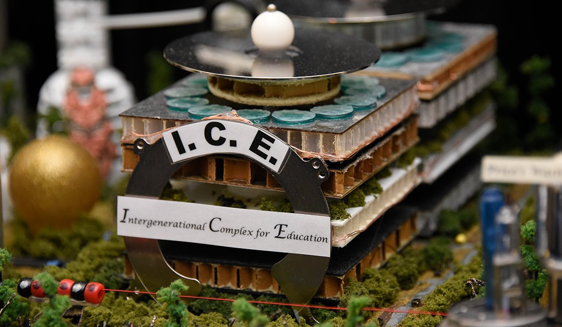 The Intergenerational Complex for Education is a building in the Alabama team's Future City Competition display.