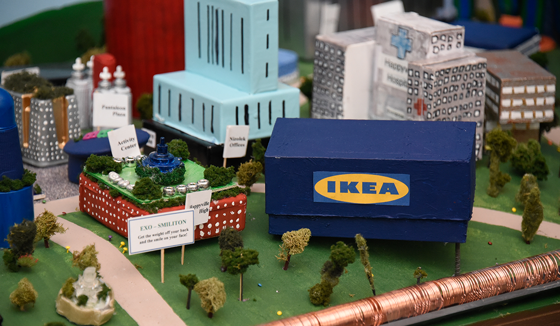 A replica of an IKEA store appears in the Illinois team's Future City Competition display.