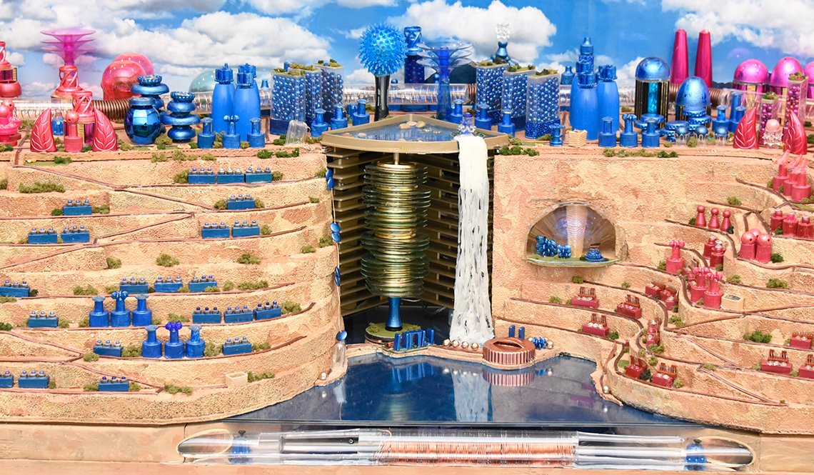The Future City model by Team Michigan features eye-catching pink and royal blue buildings