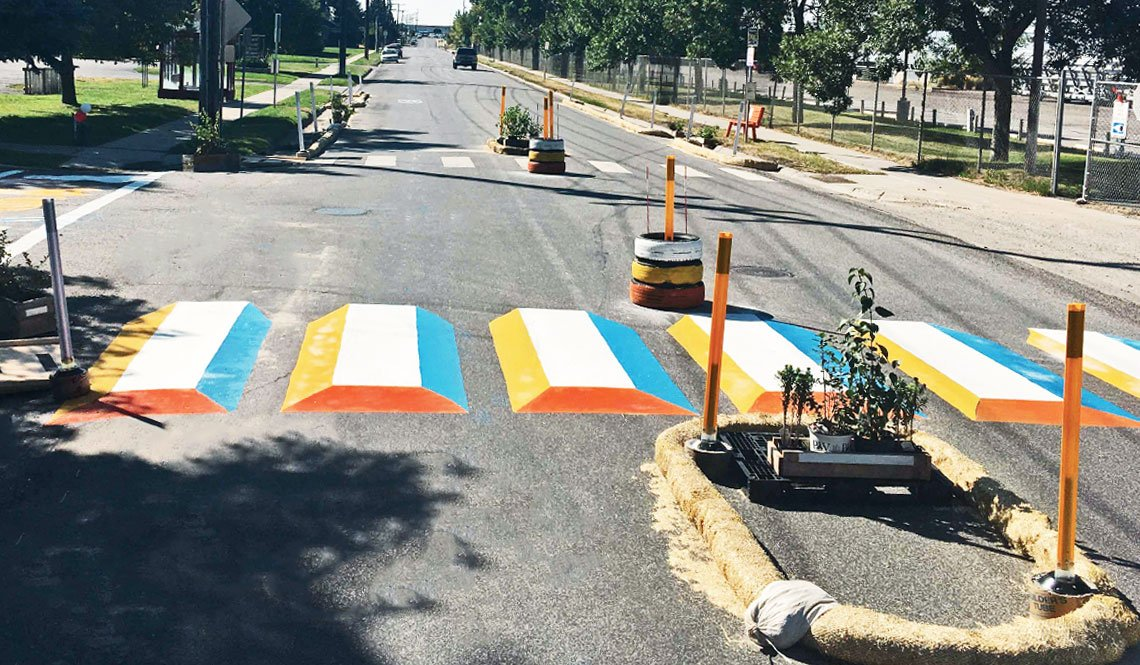 A crosswalk demonstration project in Bozeman, Montana