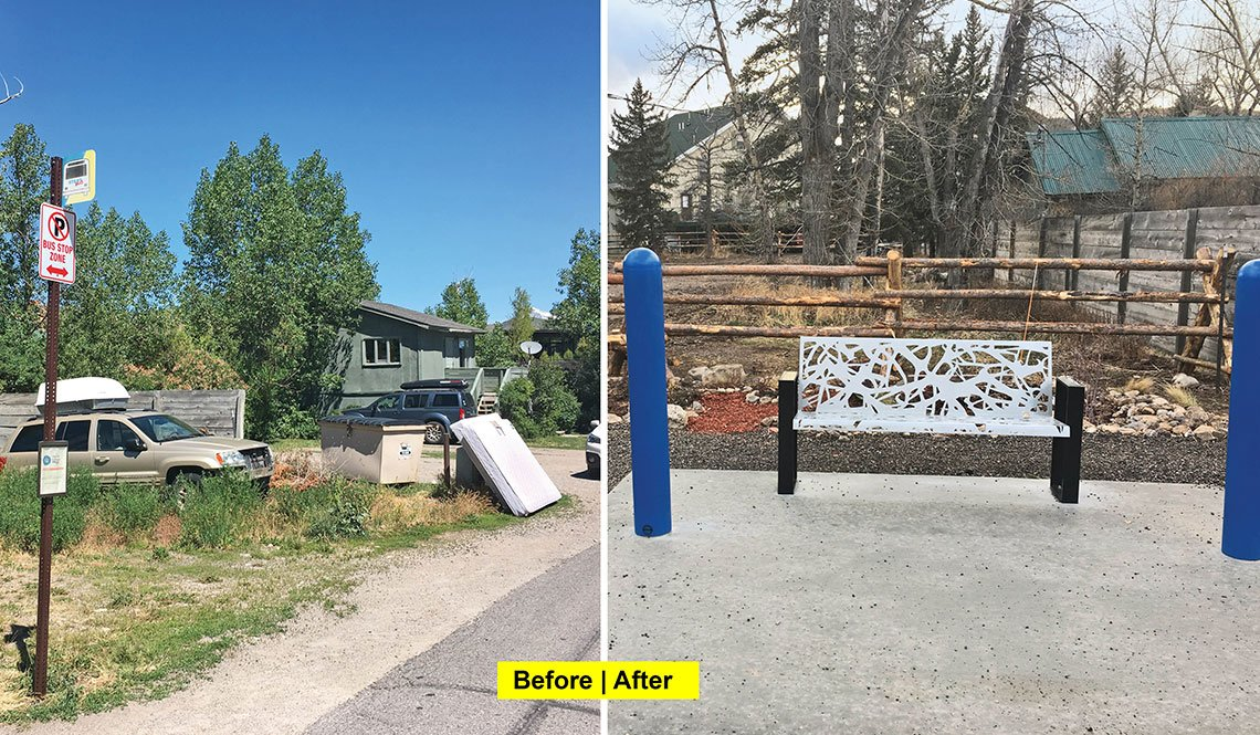 A before-and-after clean-up scene of a bus stop location in Jackson Hole, Wyoming