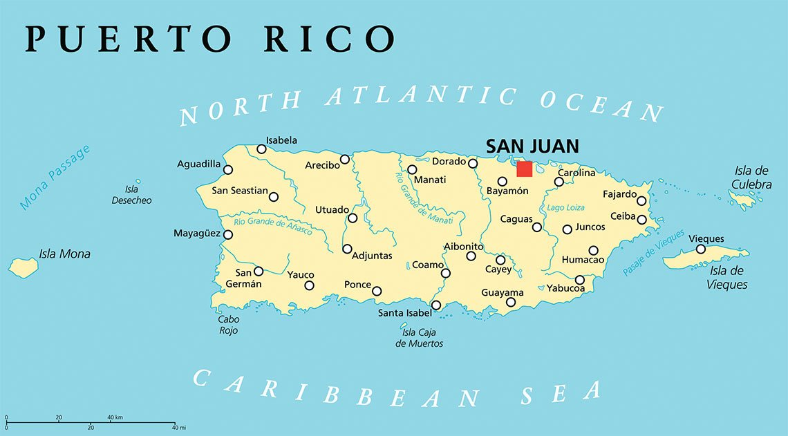 A map of Puerto Rico.