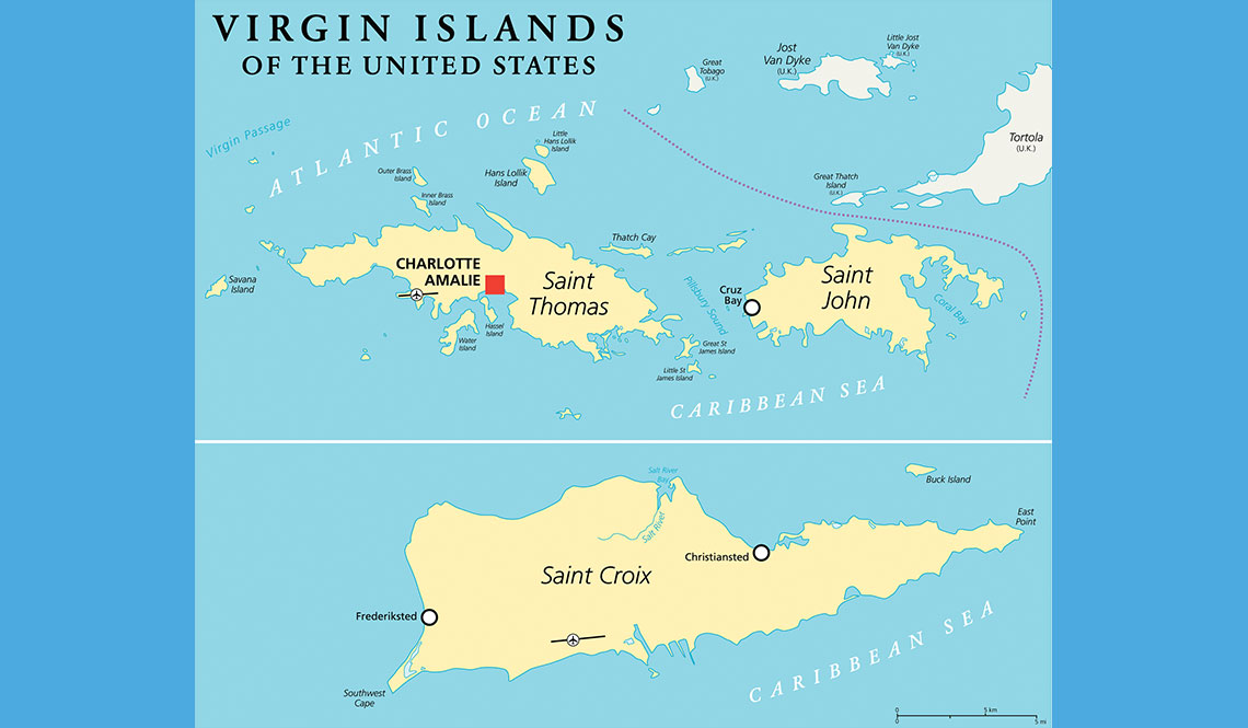A map showing the three islands of the U.S. Virgin Islands.