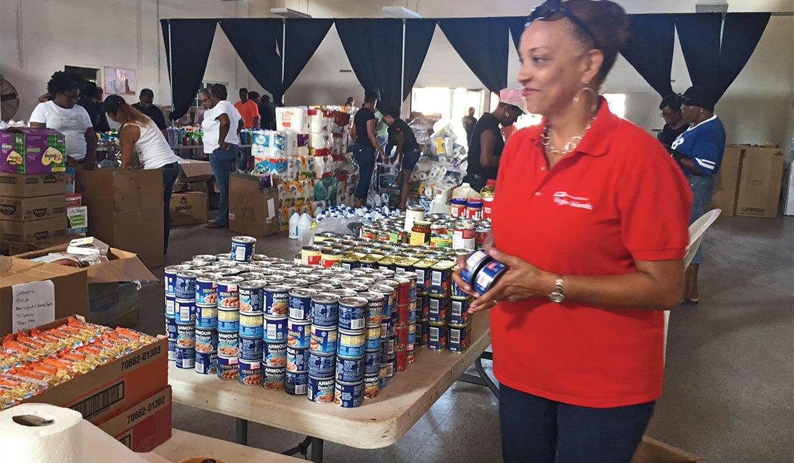 Diane Capehart of AARP U.S. Virgin Islands working at a hurricane relief center.