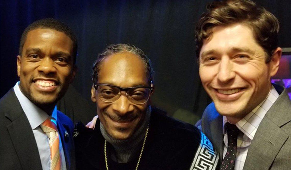 Saint Paul Mayor Melvin Carter III, rapper Snoop Dogg and Minneapolis Mayor Jacob Frey