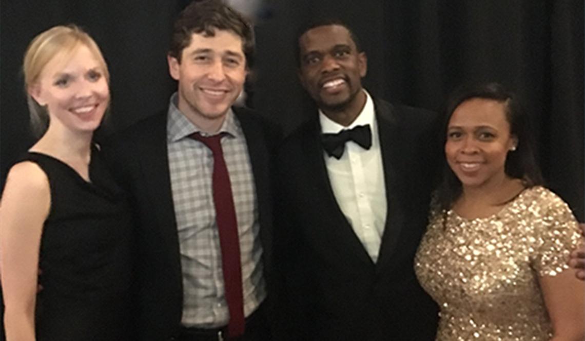 Minneapolis Mayor Jacob Frey, with wife Sarah Clarke, and Saint Paul Mayor Melvin Carter III with wife Sakeena Futrell-Carter