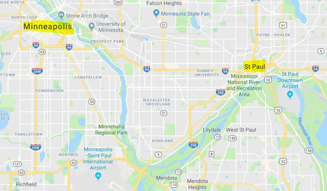 Map showing the locations of Minneapolis and St. Paul, Minnesota