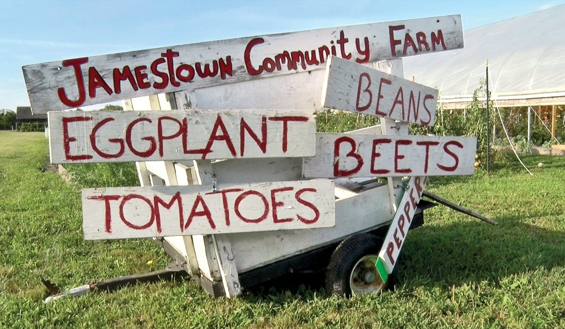 Signage indicating what type of produce is available at the Jamestown Community Farm