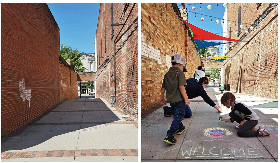 Before and After Images of Revitalized Alleyway in Camden South Carolina
