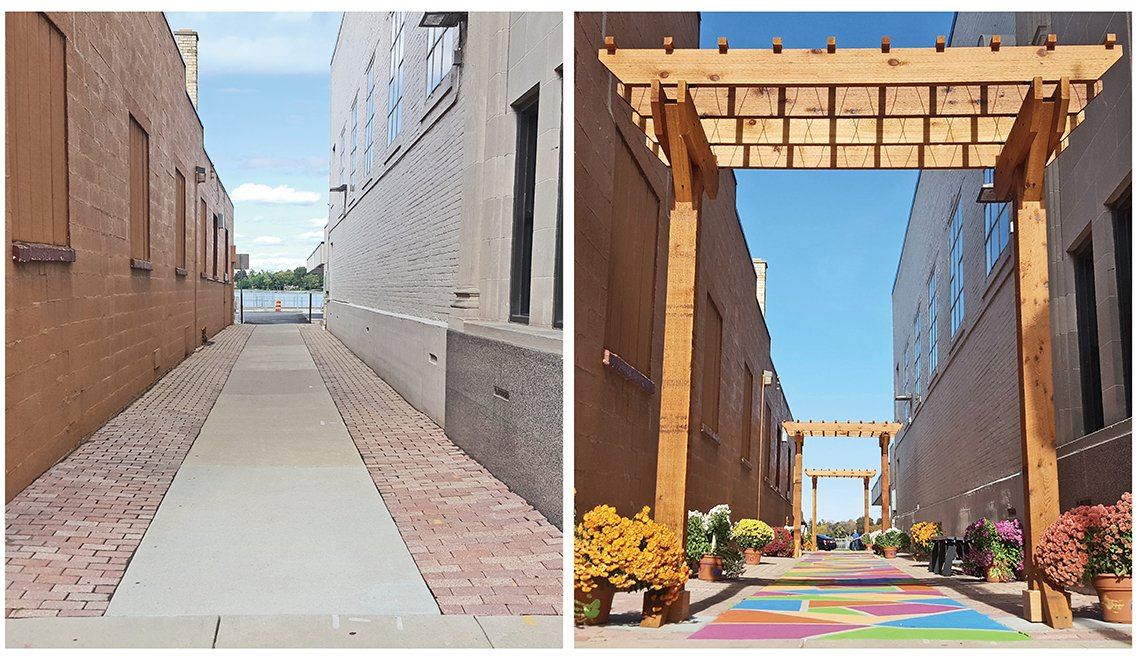 Before and After Images of Revitalized Alley in Oconomowoc Wisconsin