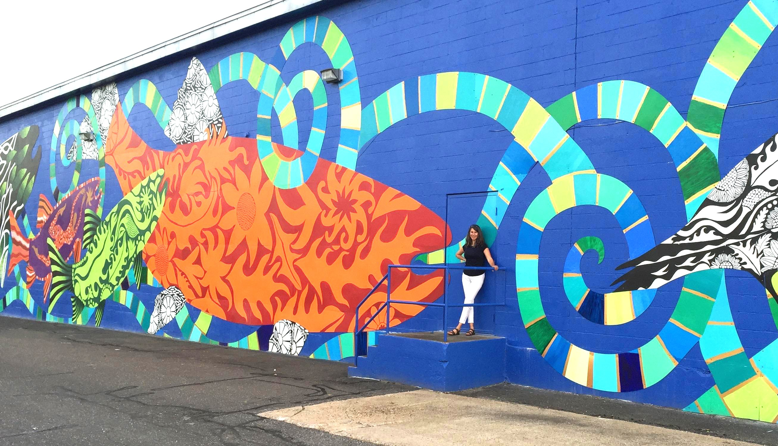 Danielle Mailer FishTales mural in Torrington Connecticut