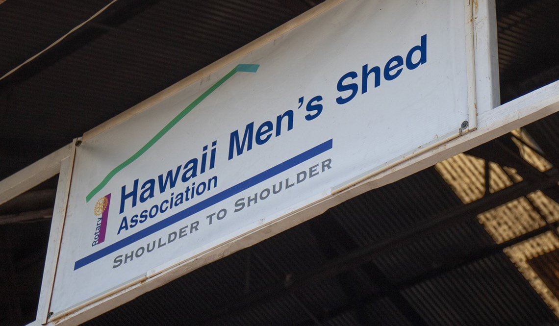 A location sign for the Hawaii Men's Shed Association