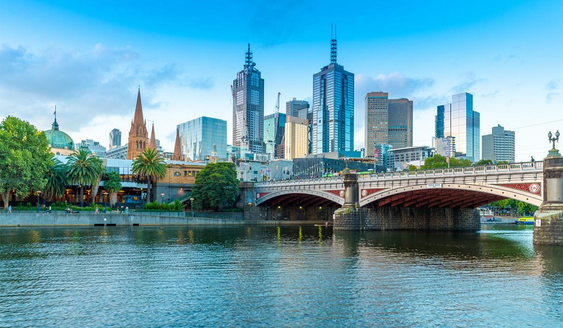 A riverfront view of Melbourne, Australia