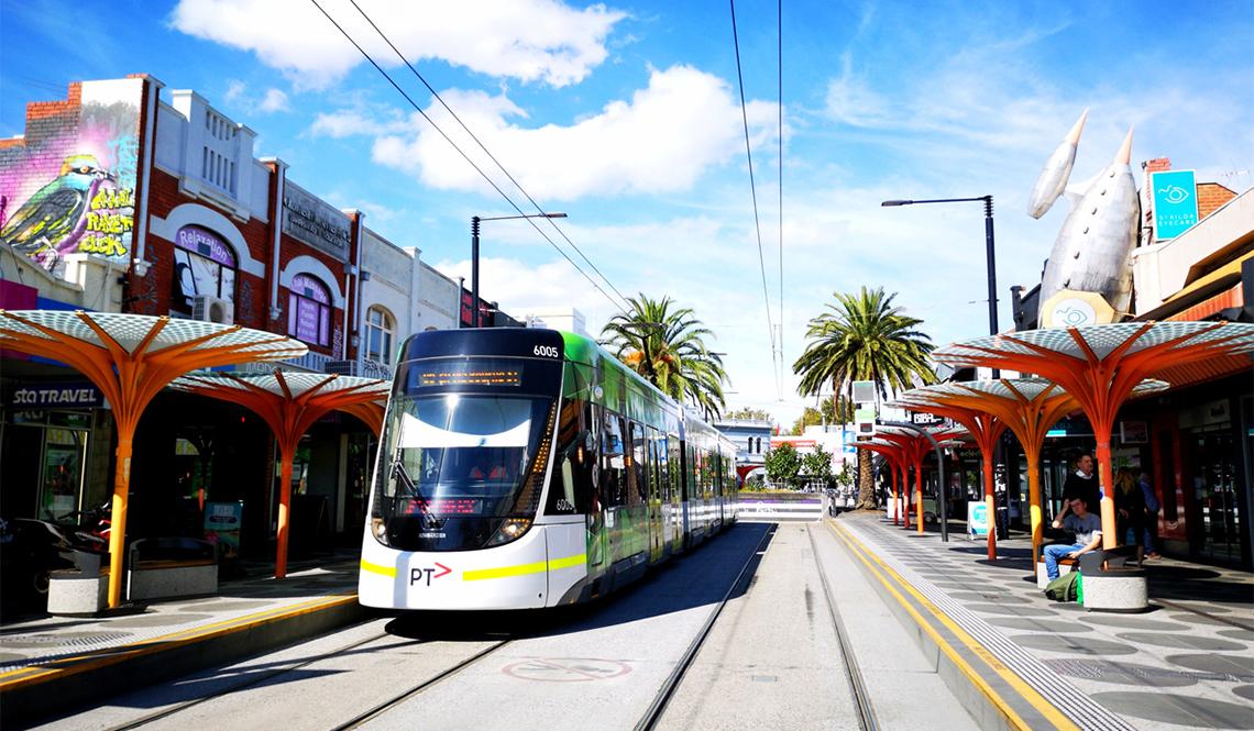A streetcar in Melbourne, Australia