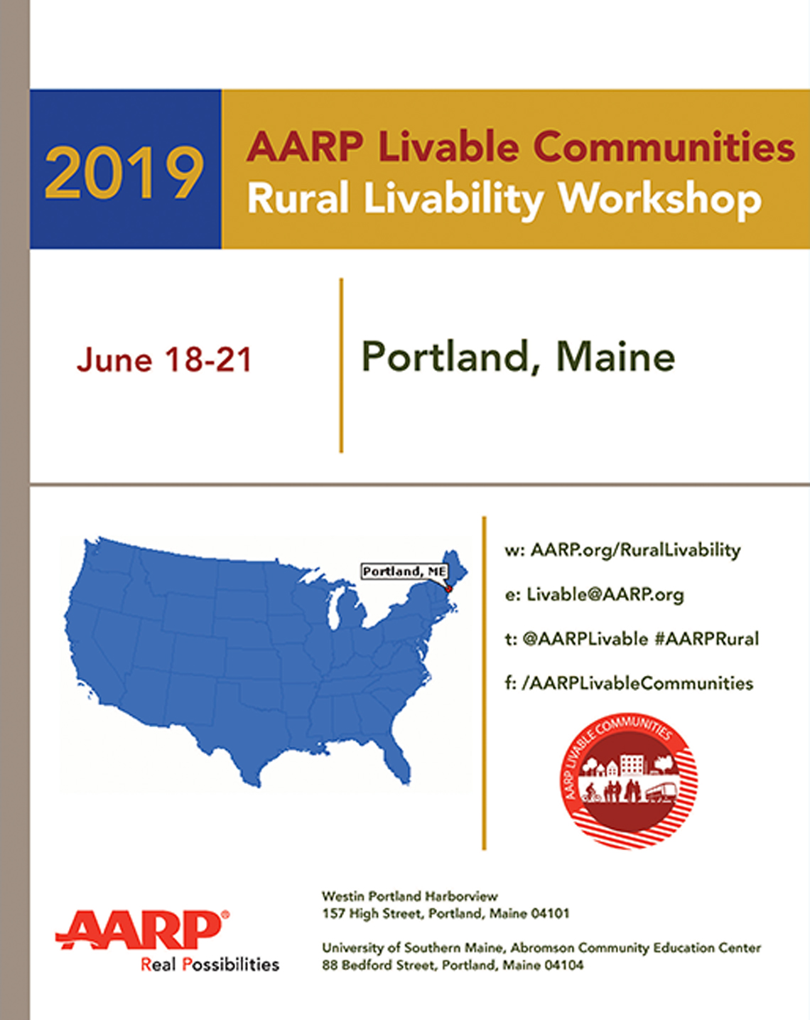 Program booklet for the 2019 AARP Rural Livability Workshop
