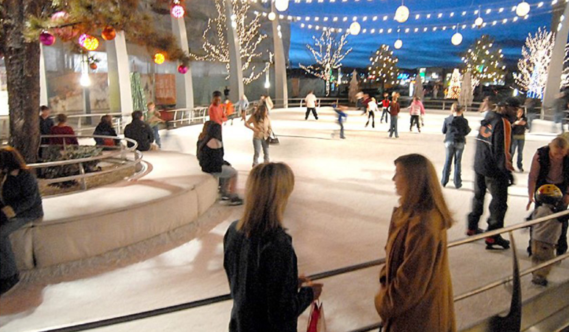 An outdoor, downtown ice rink
