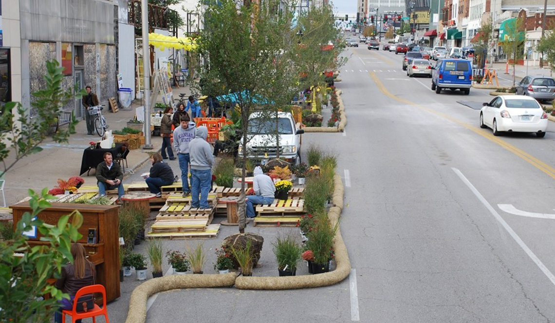 A Pop-Up Parklet on a wide roadway