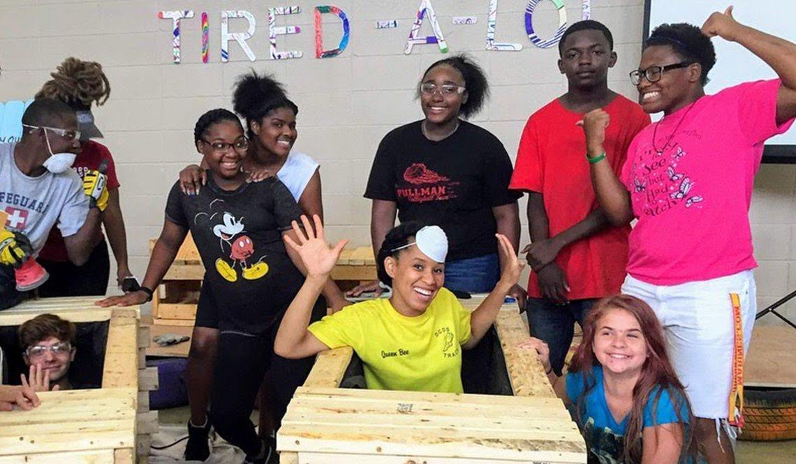 Rena Bradley and students