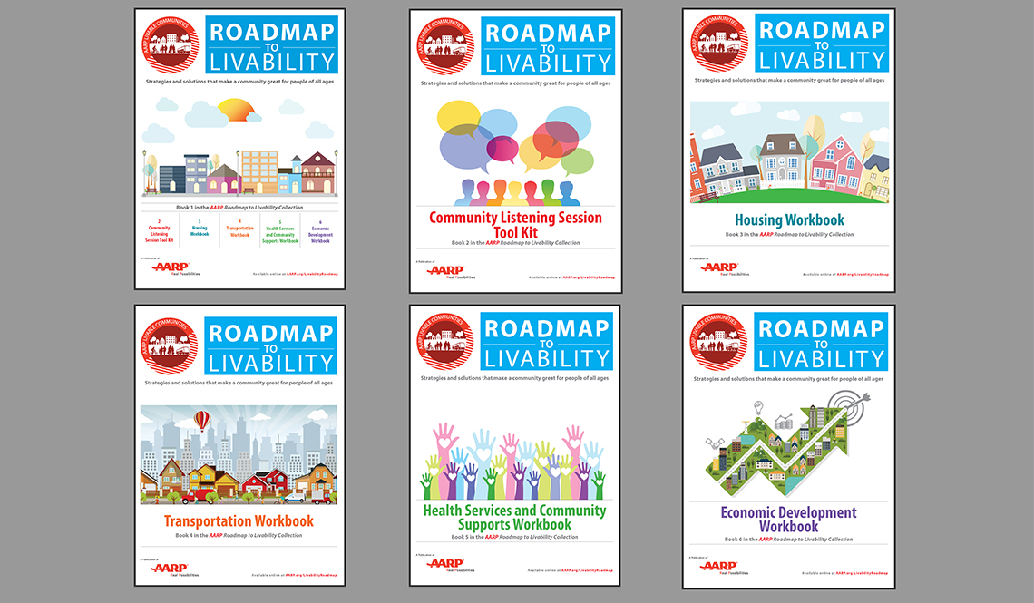 Covers of the complete, six-part AARP Roadmap to Livability Collection