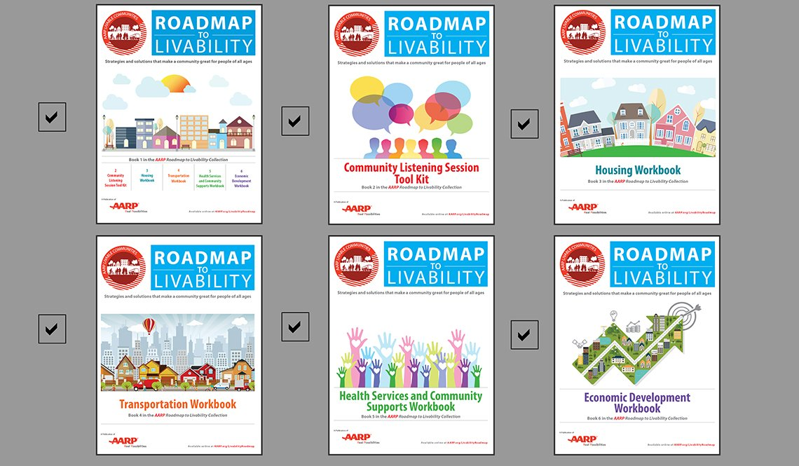 Covers of the six-part AARP Roadmap to Livability Collection with all six books checked off as having been published