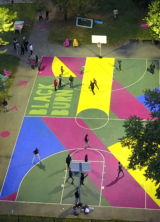A colorful pop-up basketball court in the Blackburn neighborhood of Columbus, Ohop