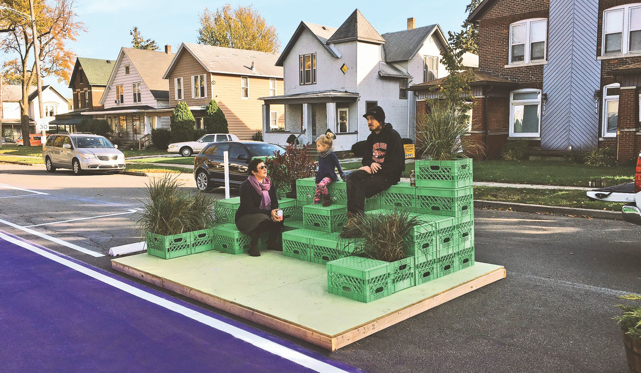 Family with Milk Crate Parklet