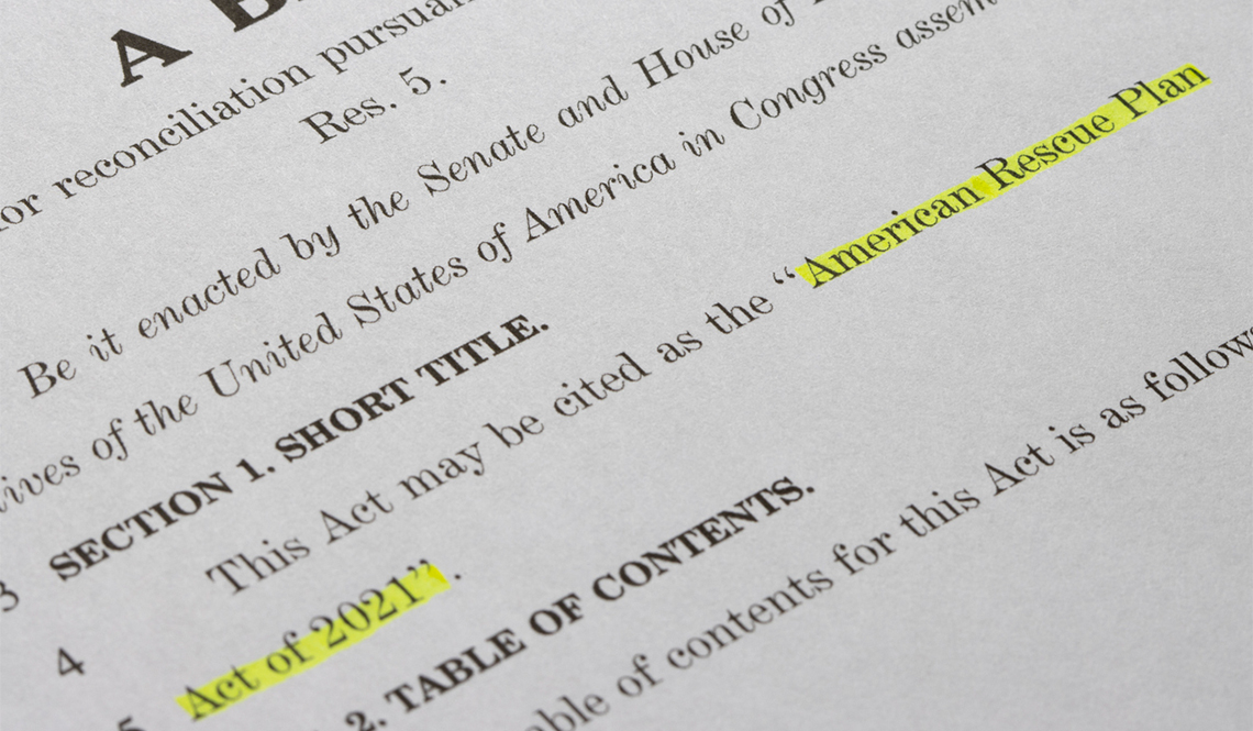 An image of the Congressional bill text of the American Rescue Plan Act of 2021