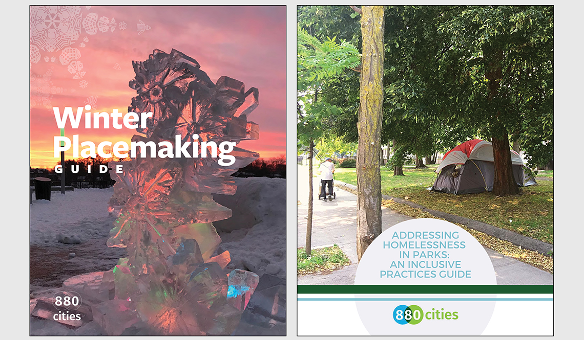 The covers of the Winter Placemaking Guide and Addressing Homelessness