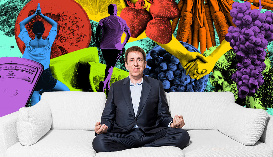 dean ornish sitting cross-legged on a couch with collage of food and people exercising