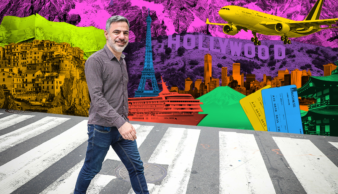seth kugel walking in front of collage of iconic travel sites