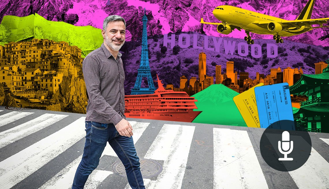 colorful graphic of Travel Expert, Seth Kugel