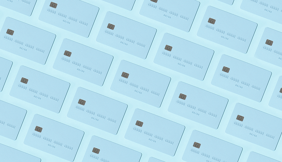 pattern of blue credit cards laid out in diagonal rowsa