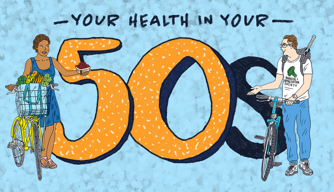 Your Health in Your 50s Graphic with man and woman with bicycles, fruit, racquet