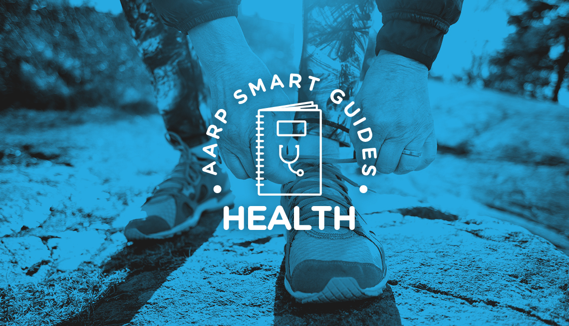 AARP Smart Guides Health graphic and blue-tinted photo of hands tying sneaker laces