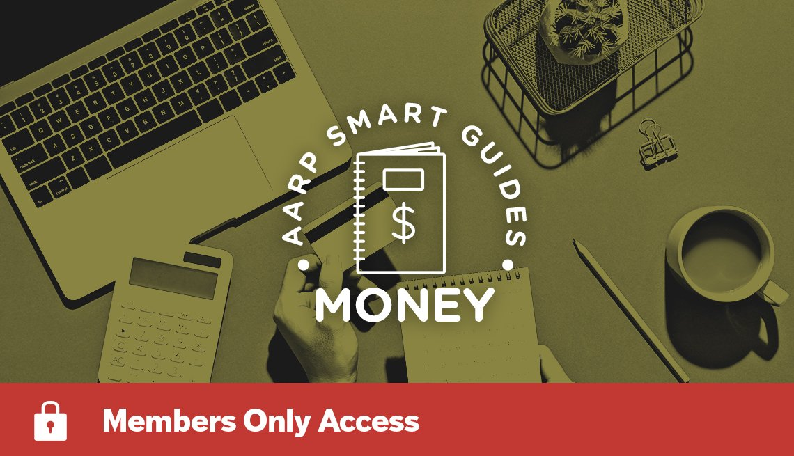 AARP Smart Guides Money graphic with someone's hands holding credit card, with laptop, calculator, other items on desk