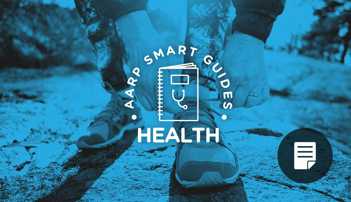 photo of female lacing sneakers for AARP Smart Guides: Health promo