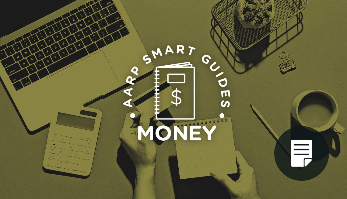 photo of person holding credit card and notebook for AARP Smart Guides: Money promo