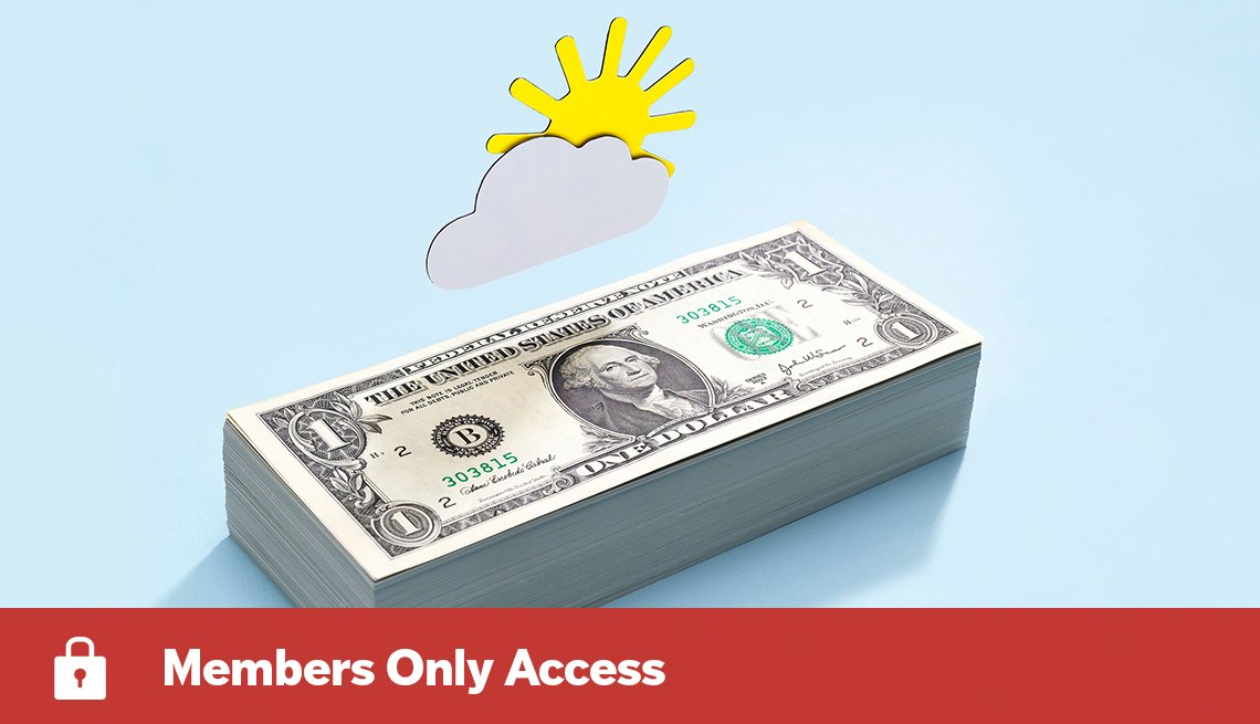 graphic of dollar bills on blue background for members only access