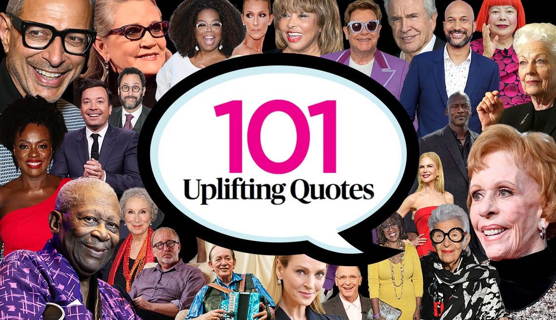 """""""101 Uplifting Quotes"""" in speech bubble surrounded by collage of celebrity photos"""