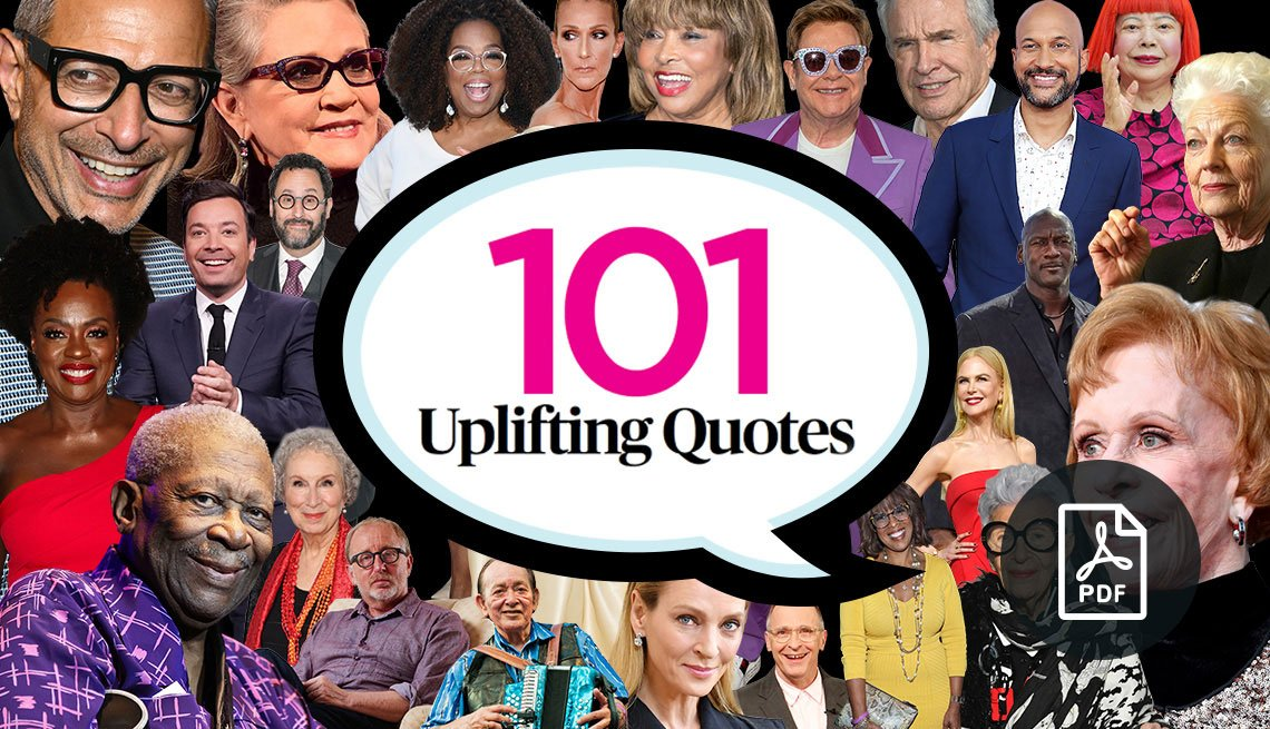 collage of celebrities for 101 quotes promo