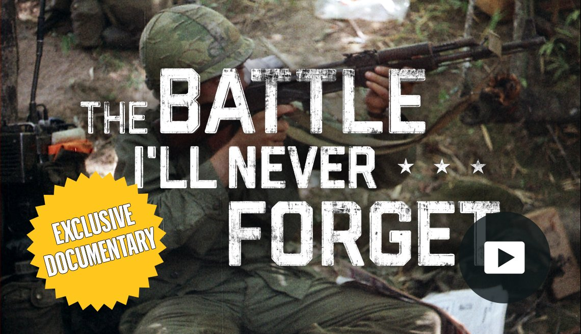 The Battle I'll Never Forget promo thumbnail with exclusive documentary starburst and play icon