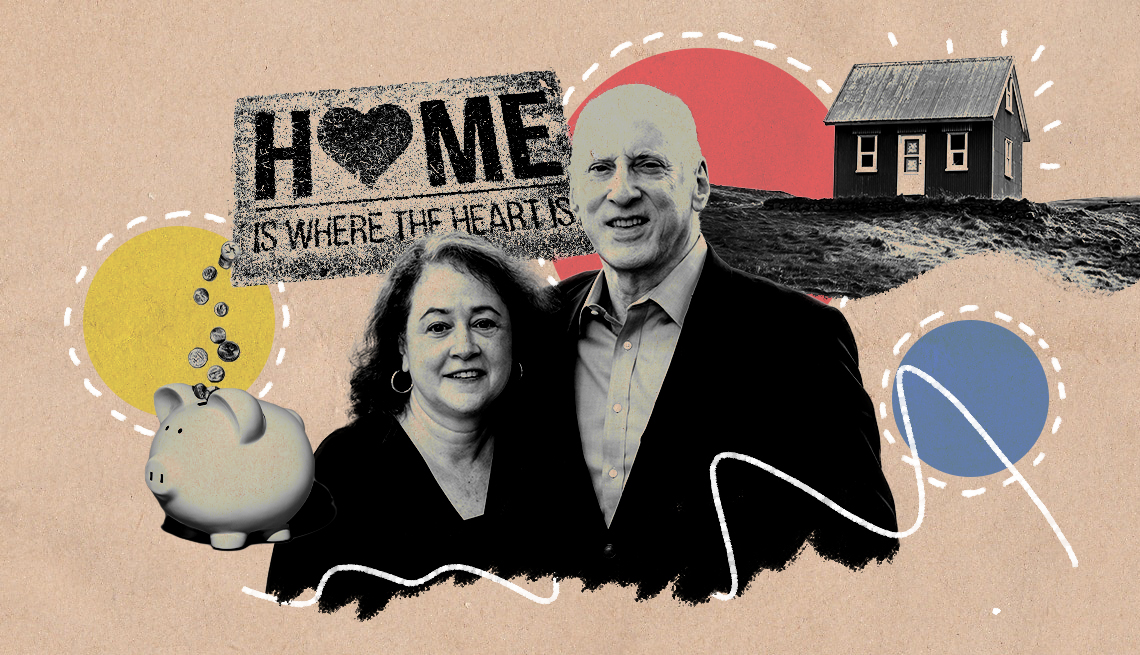 """Illustration of Julia Mayer and Barry Jacobs for """"Love and Meaning After 50"""" promo"""