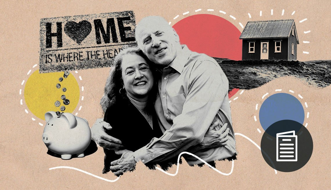 Julia Mayer and Barry Jacobs hugging for Love and Meaning promo