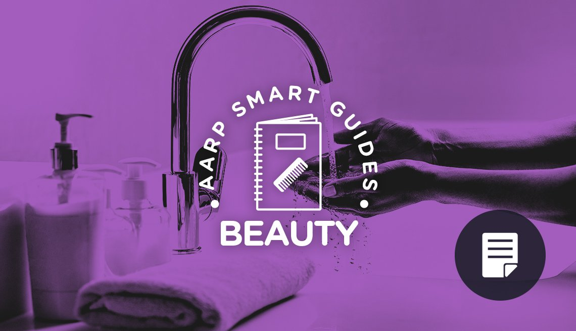 graphic of a woman washing hands for AARP Smart Beauty Guides promo