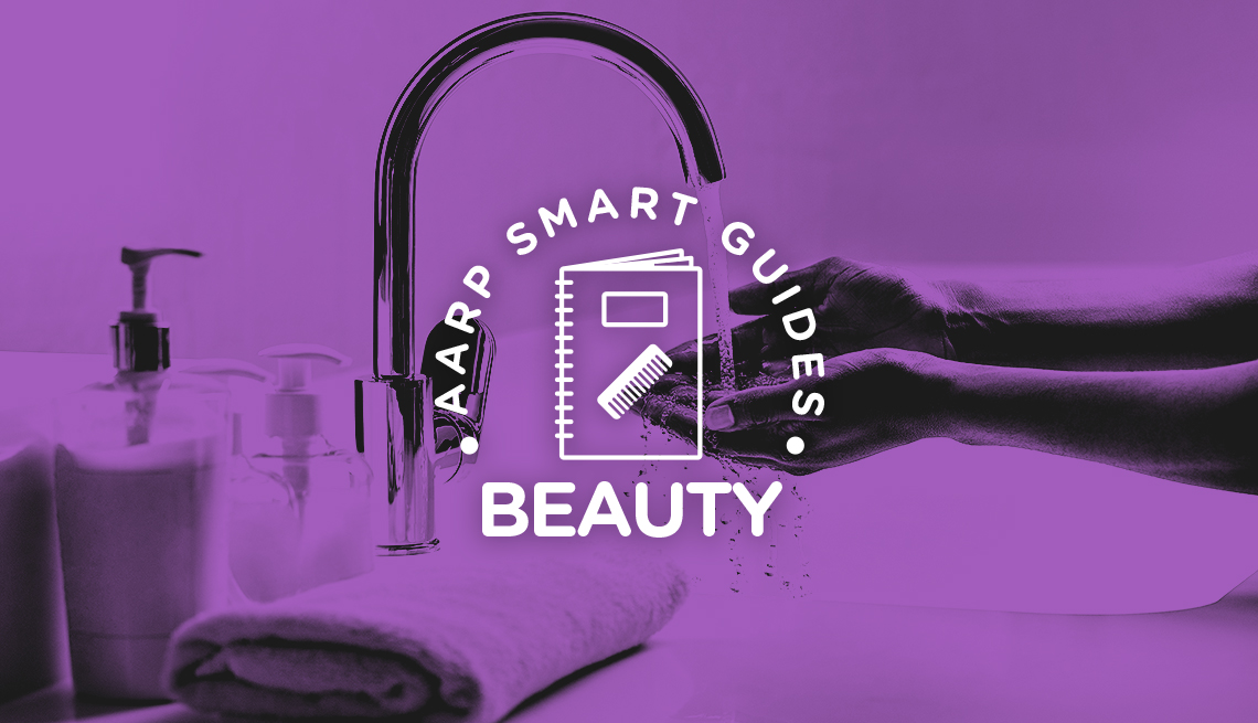 """purple-tinted photo of woman's hands under faucet behind words """"a a r p smart guides beauty"""""""