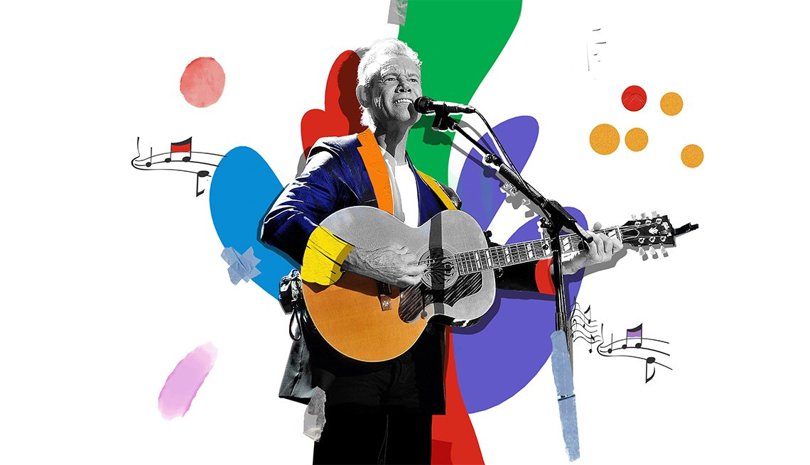 Colorful illustration of Randy Travis at microphone playing guitar