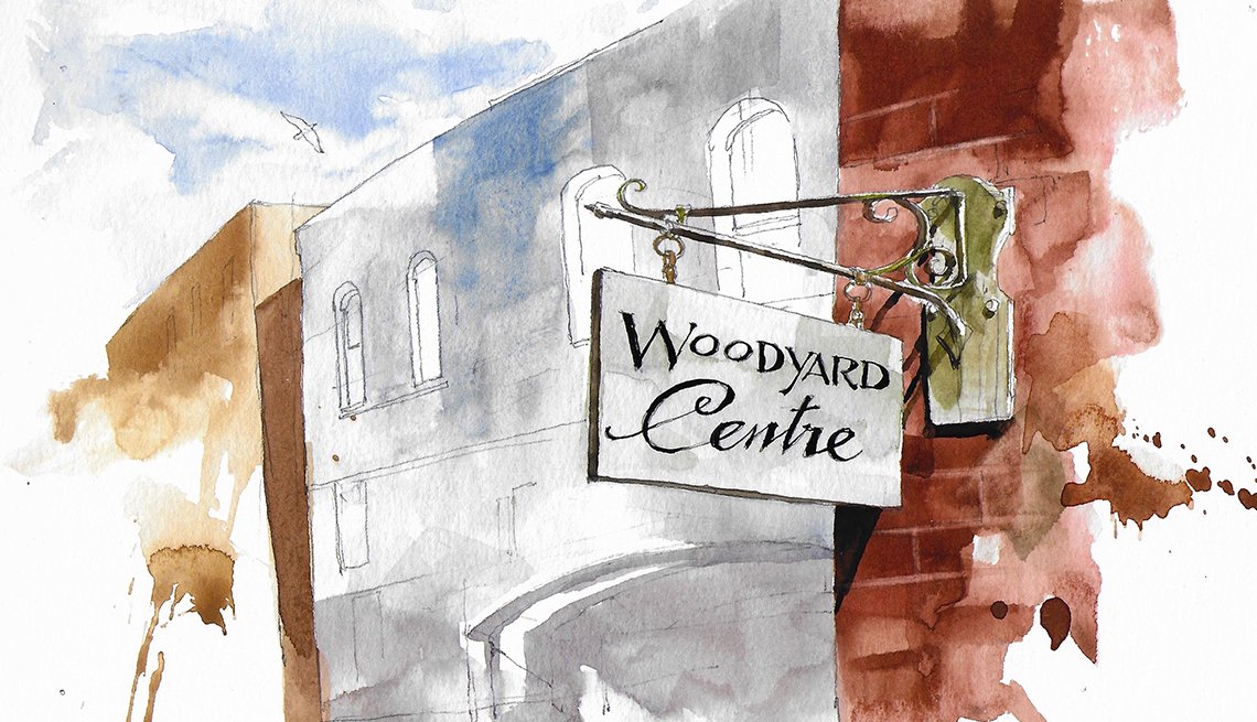 watercolor of a building with a woodyard centre sign hanging