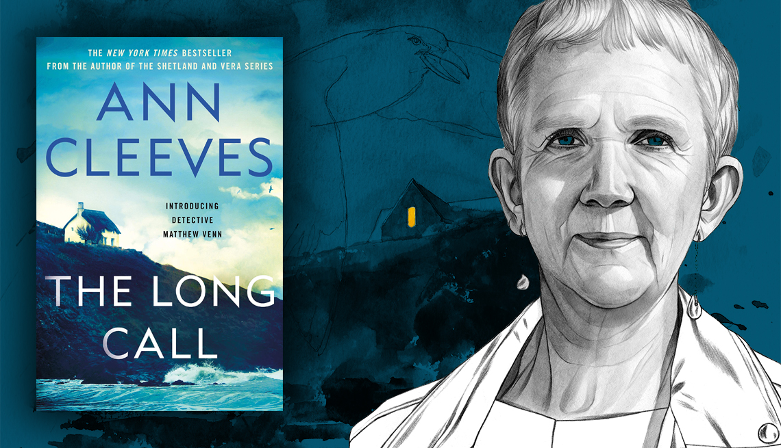 book jacket ann cleeves the long call with sketch of author