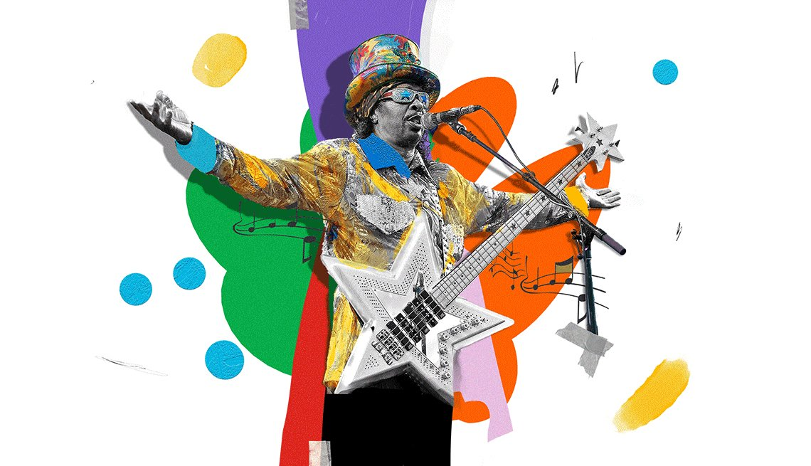 colorful illustration of Bootsy Collins at the mic holding a star-shaped guitar