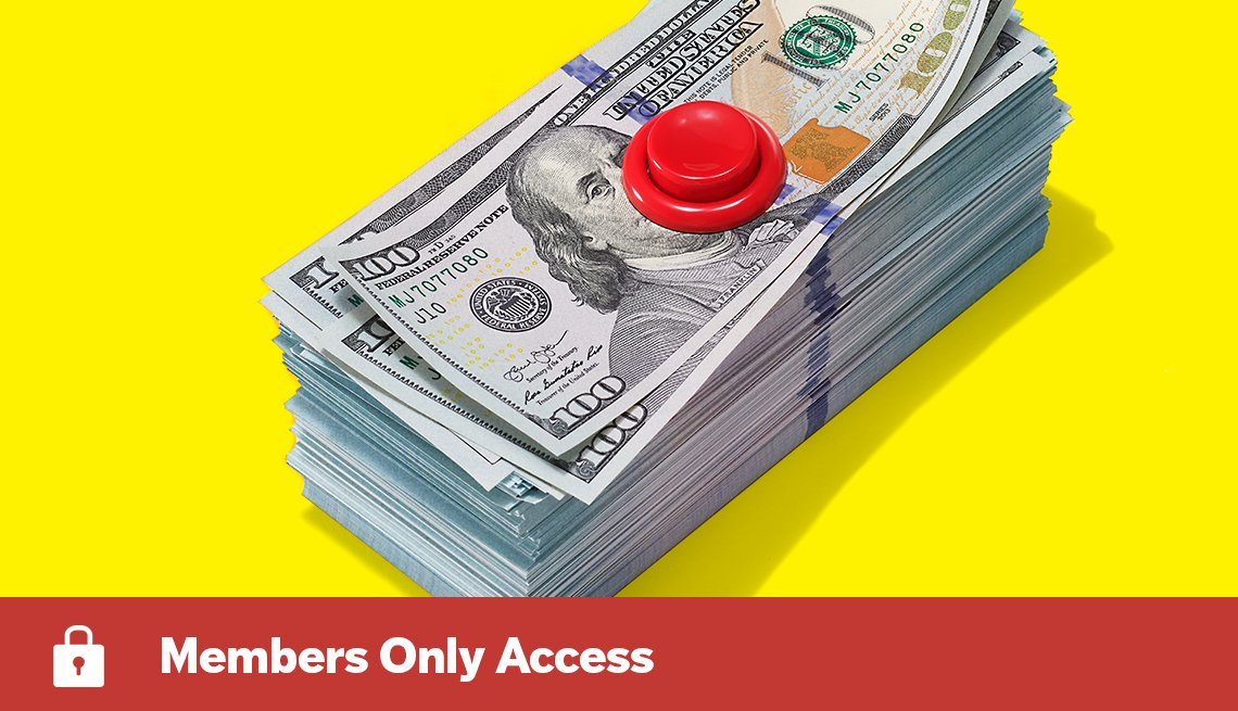 members only access. A pile of money with a red button on top